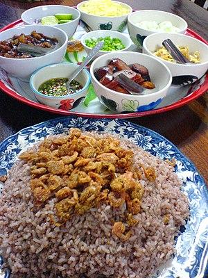 Khao khluk kapi - Khao khluk kapi with various toppings