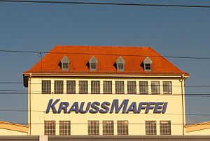 Krauss-Maffei - historical KraussMaffei company building with inscription