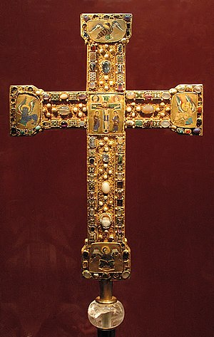 Ottonian art - The Essen cross with large enamels with gems and large senkschmelz enamels, c. 1000