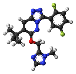 Ball-and-stick model of the L-838,417 molecule