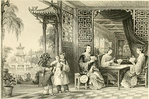 Chinese playing cards - Drawing by Thomas Allom (1843).
