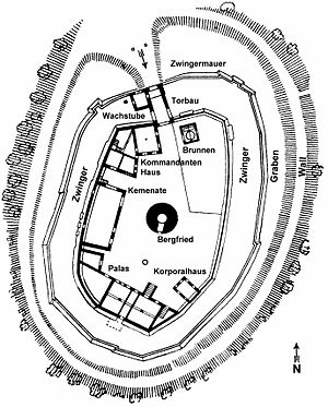 Hilltop castle - Plan of the Otzberg, a typical German hilltop castle