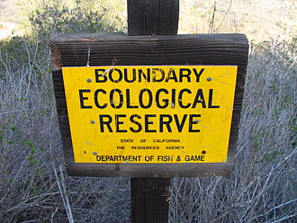 Laguna Canyon - Sign denoting the boundary of Laguna Coast Wilderness, on the center reach of Willow Canyon Trail