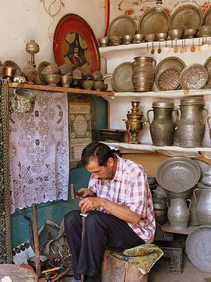Lahıc, Ismailli - Copper craftsman at work in Lahij