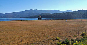 Lake Almanor - Intake tower at Almanor dam, supplying a year around flow downstream to the continuation of the North Fork of the Feather River.