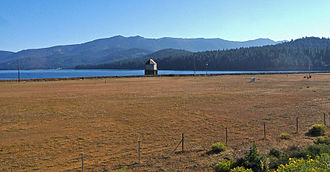 Lake Almanor - Intake tower at Almanor dam, supplying a year around flow downstream to the continuation of the North Fork of the Feather River