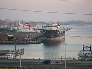 Lake freighter Quebecois, at dusk, Toronto, 2012 03 21 -b.jpg