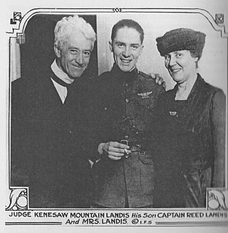 Kenesaw Mountain Landis - The Judge, his son Reed and his wife Winifred all smile in this image published in 1919.