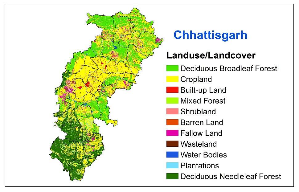 Landuse landcover imgae of Chhattisgarh