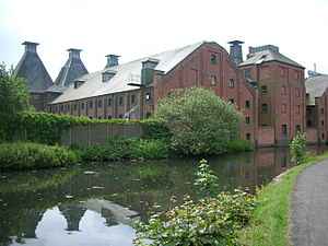 Malt house - The restored Langley Maltings (1870), a beer brewery, alongside the Titford Canal
