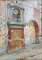 Lararium of House IX 1, 7, in Pompeii watercolor by Luigi Bazzani.jpg