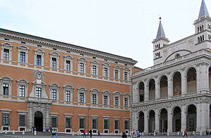 Vatican Historical Museum - The San Giovanni in Laterano square with the Lateran Palace (left) and the Basilica di San Giovanni in Laterano (right).