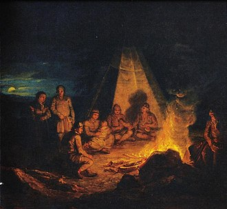Sámi people - Aleksander Lauréus's painting of the Sámi by the fire