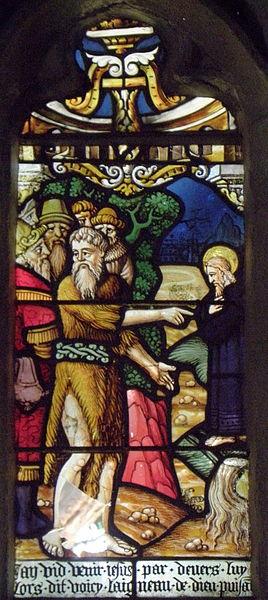 Maîtresse-vitre de l'église Saint-Jean-Baptiste de Le Croisty (56). Détail. Saint-Jean-Baptiste désignant le Christ à ses disciples.