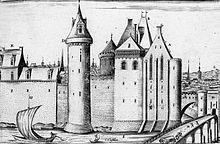 Gravure du XVIIesiècle montrant une vue globale du château de Tours.