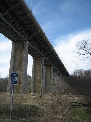 Leaside Bridge - The Leaside Bridge from the ravine below