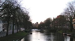 Looking along the Witte Singel (White Moat) towards the 1860 Leiden Observatory building