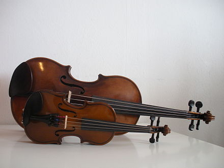 Fractional ( /16) and full size ( /4) violins LembeyeLembeyon.jpg