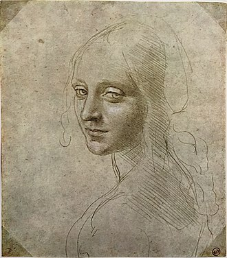 Virgin of the Rocks - Female head study by Leonardo for the Madonna of the Rocks, Royal Library of Turin.
