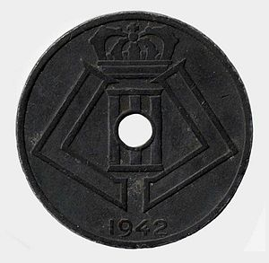 German occupation of Belgium during World War II - A Belgian coin with the monogram of Leopold III, minted during the occupation.