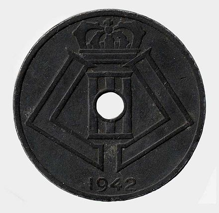 A Belgian coin with the monogram of Leopold III, minted during the occupation. Leopold III - 25 Cents 1943.jpg