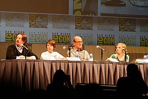 Let Me In (film) - Matt Reeves, Kodi Smit-McPhee, Richard Jenkins, and Chloë Grace Moretz at Comic-Con discussing Let Me In