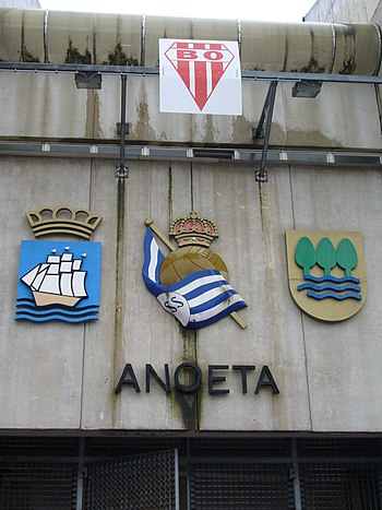 English: Sign on the front of Anoeta Stadium. ...