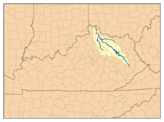 Licking River (Kentucky) - The watershed of the Licking River, with the North Fork and South Fork Licking River tributaries