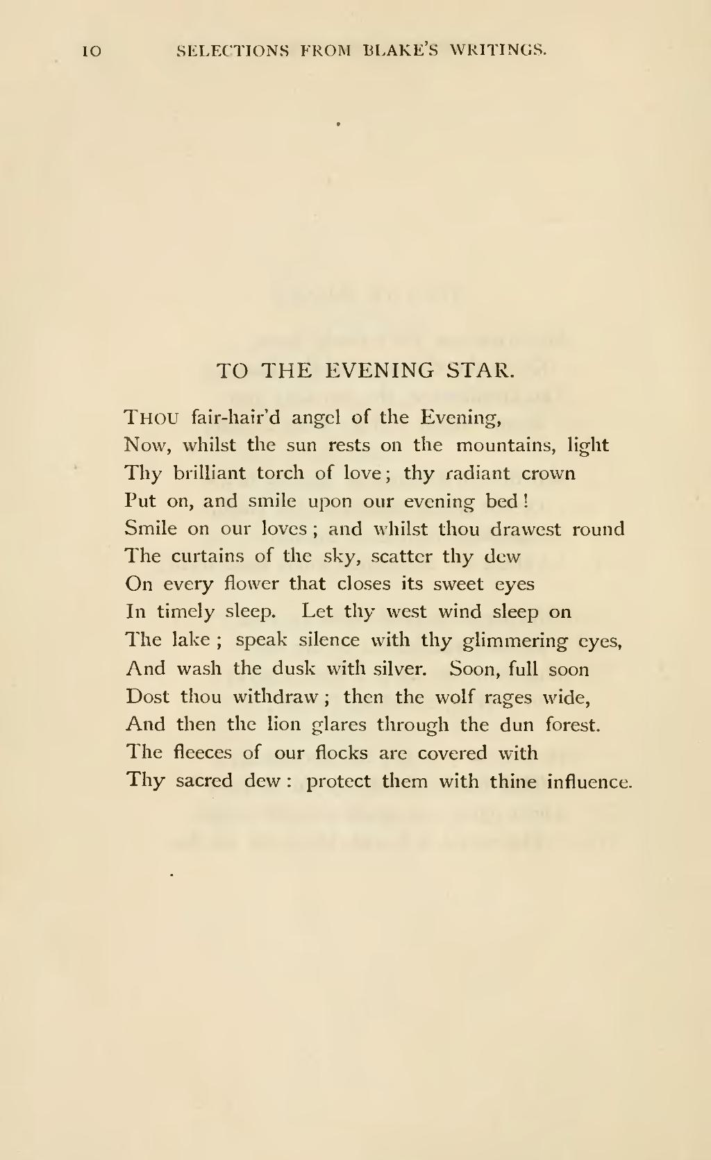 william blake to the evening star