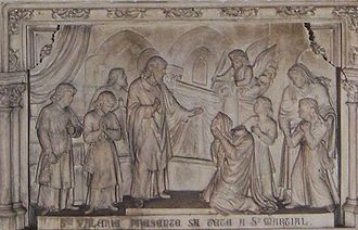 Valerie of Limoges - Close-up of altar relief: St Valerie presents her own head to her confessor, St Martial.  Limoges.