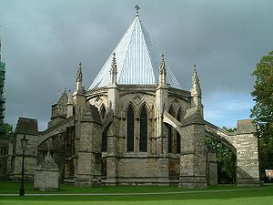 Chapter house - The Chapterhouse at Lincoln Cathedral with flying buttresses surrounding the building