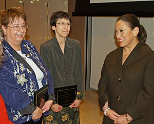 "The New York Times Company - 2008 I Love My Librarian award recipients Linda Allen and Margaret ""Gigi"" Lincoln talk with Janet Robinson in The New York Times Building."