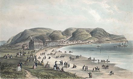 Llandudno, 1856. With the arrival of the railway network, seaside towns became popular destinations for Victorian holiday makers Llandudno.jpeg