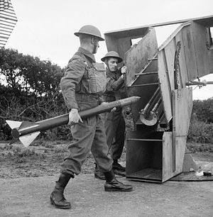 Z Battery - Home Guard soldiers load a single launcher on a static 'Z' Battery on Merseyside, July 1942