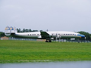 Lockheed L-1649 Starliner - N974R in semi-Lufthansa colors on display at the Fantasy of Flight aviation museum.