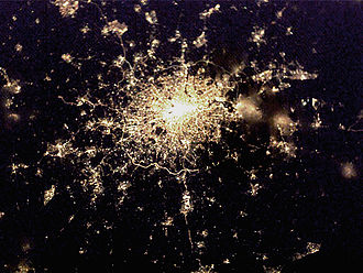 Energy in the United Kingdom - A night view of the southeast of the UK, centred on Greater London, as seen from the International Space Station.