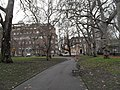 Looking from a wintry Brunswick Square Gardens towards the Foundling Museum - geograph.org.uk - 1657703.jpg
