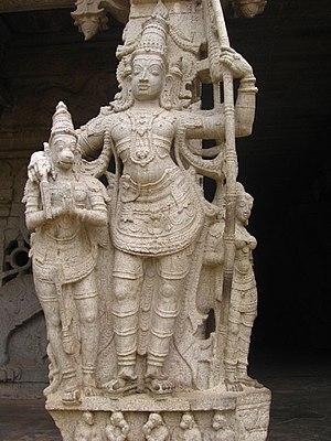Srivaikuntanathan Permual temple - Lakshmana hugging Hanuman