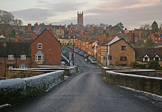 Battle of Ludford Bridge - Ludford Bridge with Lower Broad Street leading to Ludlow's Broad Gate.