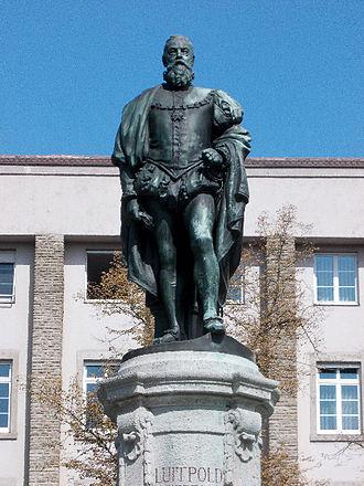 Luitpold, Prince Regent of Bavaria - Augsburg monument by the sculptor Franz Bernauer on top of the fountain Prinzregentenbrunnen.