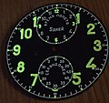 Luminous dial of Soviet aircraft chronometer ACzS-1.JPG