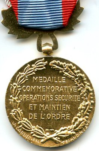 North Africa Security and Order Operations Commemorative Medal - Reverse of the post January 1958 variant