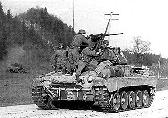 United States Cavalry - The new M24 Chaffee light tank that was issued to the 106th Cavalry Group in February 1945. Its 75 mm gun was vastly superior to the M5A1 Stuart tank.