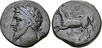 Masinissa - Silver coin of either Massinisa, 203-148 BC, or Micipsa 148-118 BC, showing a man wearing a diadem on the obverse, and a horse with a palm tree on the reverse