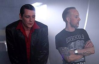 "Adam Darski - Maciej Maleńczuk and Adam ""Nergal"" Darski on the shooting set for the Behemoth video clip ""Lucifer"", 2011"
