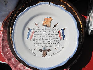Carmagnole - Plate with the text of the beginning of the song