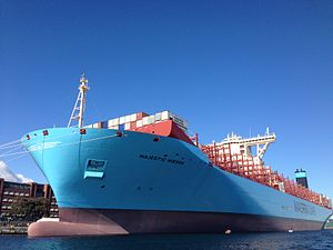 Maersk Triple E-class container ship - Majestic Maersk in Copenhagen in September 2013, shortly after entering service. Maersk opened the ship up for public tours for four days. At the time this was the longest ship in service of any type.