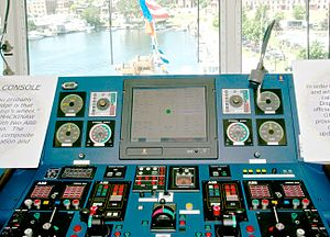 USCGC Mackinaw (WLBB-30) - Mackinaw's Main Control Console, which is used to steer the ship instead of a steering wheel.