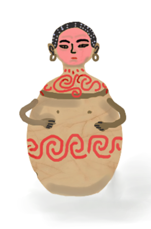 Maitum Anthropomorphic Pottery - Another design of a Maitum jars with a red paint on the face