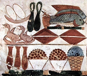 History of seafood - Various foods depicted in an Egyptian burial chamber, including fish, c. 1400 BC
